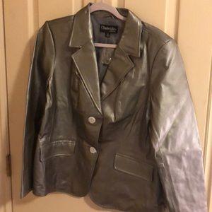 Chadwick's leather blazer silver